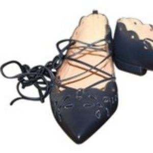 J Crew Navy Blue Leather Eyelet Lace Up Flats Sz 6